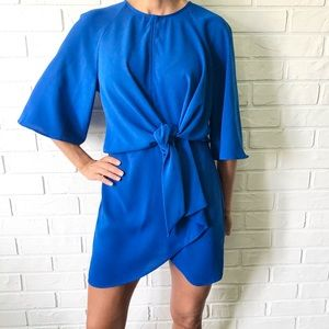 Top Shop royal blue tie front bell sleeve mini dress 6